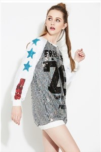 Fashionable Cute Long-Sleeve Sequin Shirt Dress
