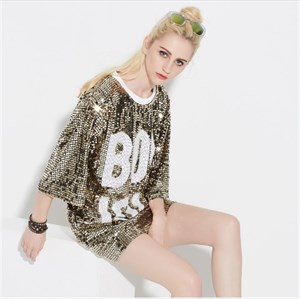 Loose Fashionable Sequin Shirt Dress With 3/4 Sleeve