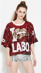 Women's Burgundy Loose Fashionable Half Sleeve Sequin Shirt