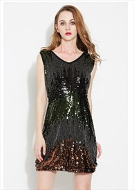 V-Neck Black Sleeveless Sequin & Beads Short Cocktail Dress