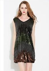 V-Neck Black Sleeveless Sequin & Beads Short Cocktail Dress