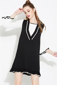 Women's Fashionable Sleeveless V-Neck Knitting Sundress