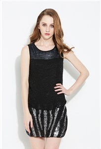 Women's Black Sleeveless Short Sequin Top