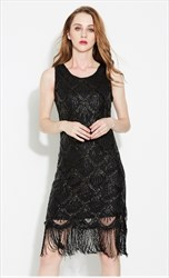 Black Sleeveless Beaded Short Cocktail Dress With Tassels