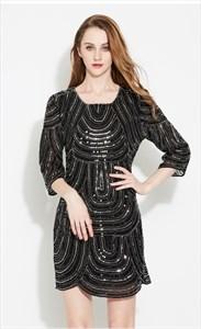 Sequin Embellished Short Dress With 3/4 Length Sleeve