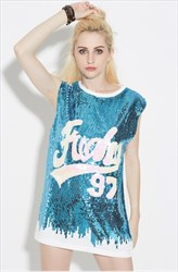 Women's Fashionable Sleeveless Sequin Shirt Dress