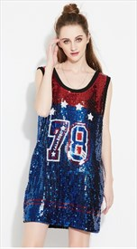 Women's Sleeveless Loose Fashionable Sequin Shirt Dress