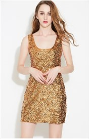 Women's Simple Sleeveless Short Sheath Sequin Dress
