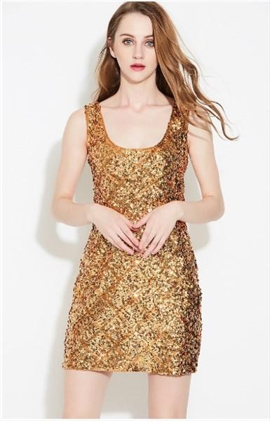 df93582bbb7b9 Champagne Women's Simple Sleeveless Short Sheath Sequin Dress SKU -FS2203-C