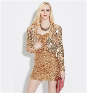 Women's Long Sleeve Sequin & Beads Short Jacket