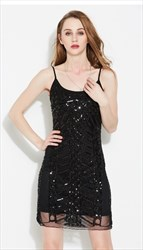 Black Spaghetti Strap Sequin & Beads Short Dress With Open Back