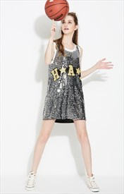 Women's Silver Loose Fashionable Short Sequin Shirt Dress