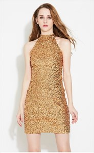 Simple Elegant Sleeveless Short Sheath Sequin Cocktail Dress