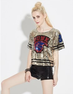Women's Loose Fashionable V-Neck Short Sleeve Sequin T-Shirt