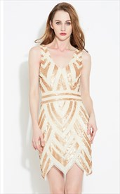 Light Champagne Sleeveless V-Neck Sequin Short Sheath Cocktail Dress