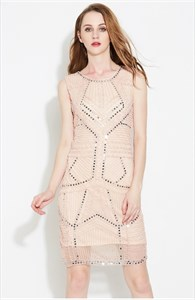 Light Pink Elegant Sleeveless Beaded Short Sheath Cocktail Dress