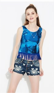 Women's Simple Sleeveless Sequin Top With Tassels