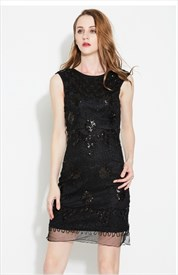 Black Cap Sleeve Short Sheath Sequin Cocktail Dress With Open Back