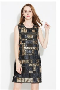 Chic Sleeveless Sequin Embellished A-Line Short Cocktail Dress