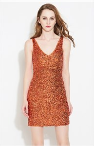 Women's Simple Sleeveless V-Neck Sequin Short Sheath Dress