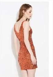 Women's Simple Sleeveless V-Neck Sequin Short Sheath Dress