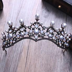 Vintage Imitation Pearls/Rhinestone/Alloy Tiaras