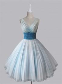 Light Blue Sleeveless V-Neck A-Line Homecoming Dress With Empire Waist