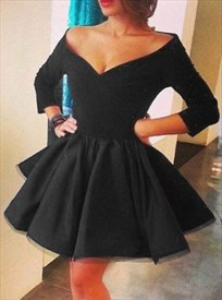 Black Off Shoulder V-Neck Long Sleeve Short A-Line Homecoming Dress
