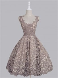 Simple Cute Grey Sleeveless Knee Length A-Line Lace Homecoming Dress
