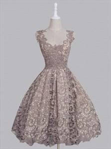 Simple Cute Grey Sleeveless Knee Length A-Line Lace Homecoming Dress