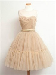 Lovely Sleeveless A-Line Tulle Homecoming Dress With Sheer Neckline