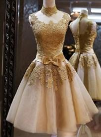 Elegant Sleeveless High-Neck Lace Embellished A-Line Homecoming Dress