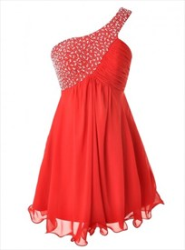 Red One Shoulder A-Line Chiffon Short Dress With Beaded Embellished