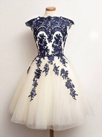 Cap Sleeve White Short A-Line Homecoming Dress With Lace Embellished