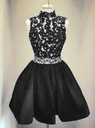 Elegant High-Neck Sleeveless A-Line Little Black Dress With Lace Top