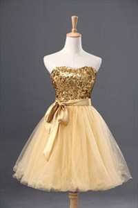 Champagne Strapless Sweetheart Sequin Top Homecoming Dress With Belt