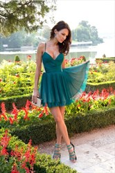 Simple Teal Spaghetti Strap V-Neck Ruched Chiffon Homecoming Dress