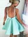 Simple Jade Sleeveless A-Line Satin Homecoming Dress With Open Back