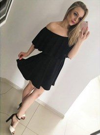 Simple Off The Shoulder Knee Length A-Line Chiffon Little Black Dress