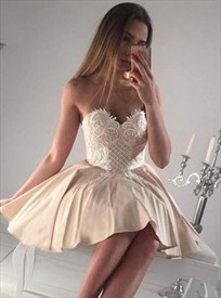 Cute Short Strapless Sweetheart A-Line Homecoming Dress With Lace Top