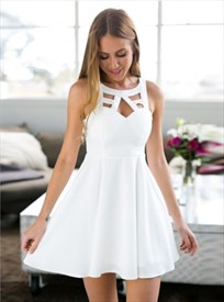 Elegant White Sleeveless Short A-Line Homecoming Dress With Lace Back