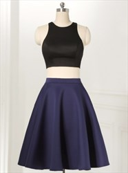 Navy Blue Elegant Short Sleeveless Two Piece A-Line Homecoming Dress