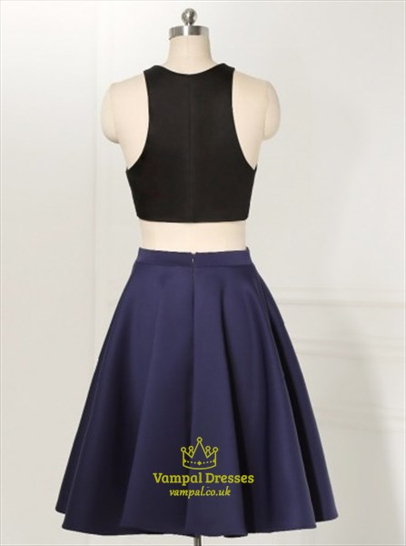 Navy Blue Elegant Short Sleeveless Two Piece A-Line Homecoming Dress