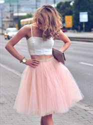Light Pink Two Piece Spaghetti Strap A-Line Tulle Homecoming Dress