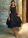 Black Tea Length Sleeveless Ball Gown Cocktail Dress With Keyhole Back