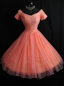 Coral Short Sleeve Knee Length A-Line Ruched Chiffon Homecoming Dress
