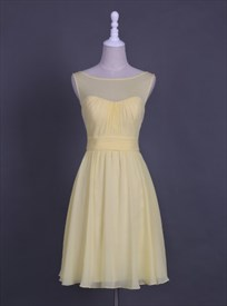 Simple Sleeveless A-Line Chiffon Homecoming Dress With Sheer Neckline