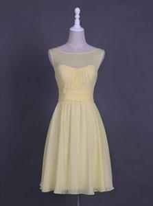 Simple Sleeveless A-Line Chiffon Homecoming Dress With Sheer Neckline