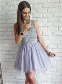 Cute Lilac Sleeveless Short A-Line Homecoming Dress With Illusion Back