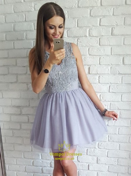 ced5185efd Cute Lilac Sleeveless Short A-Line Homecoming Dress With Illusion Back